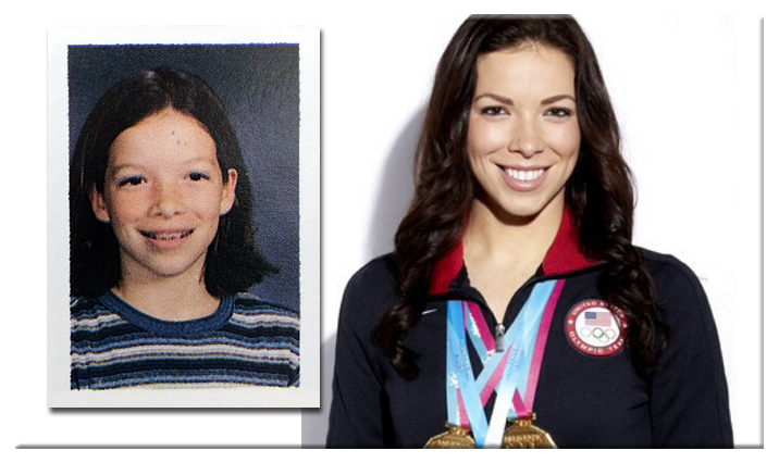 Two photographs of Kate Ziegler. On the left is a picture of her from a Forestville Elementary School yearbook. On the right is a picture of her wearing a U.S. Olympic Team jacket, and several gold medals.