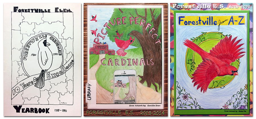 Photographs of three yearbook covers, 1989 to 1990, 2013 to 2014, and 2015 to 2016. All three covers feature student-drawn artwork of the school mascot. The first cover is in black and white and is a simple line drawing. The new covers are in color and are elaborate colored pencil drawings.